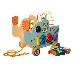 Дерев'яна іграшка дитяча слоник MD 1256 розвиваючий центр