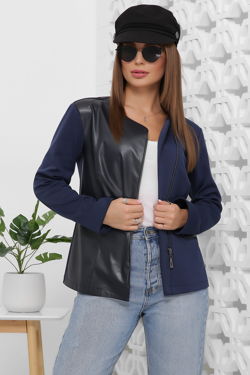 Пиджак-жакет комбинированный женский  с эко кожи и джерси, застежка на молнию цвет темно-синий