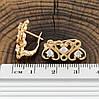 Серьги Xuping 24496 размер 20х9 мм вес 3.2 г белые фианиты позолота 18К, фото 3
