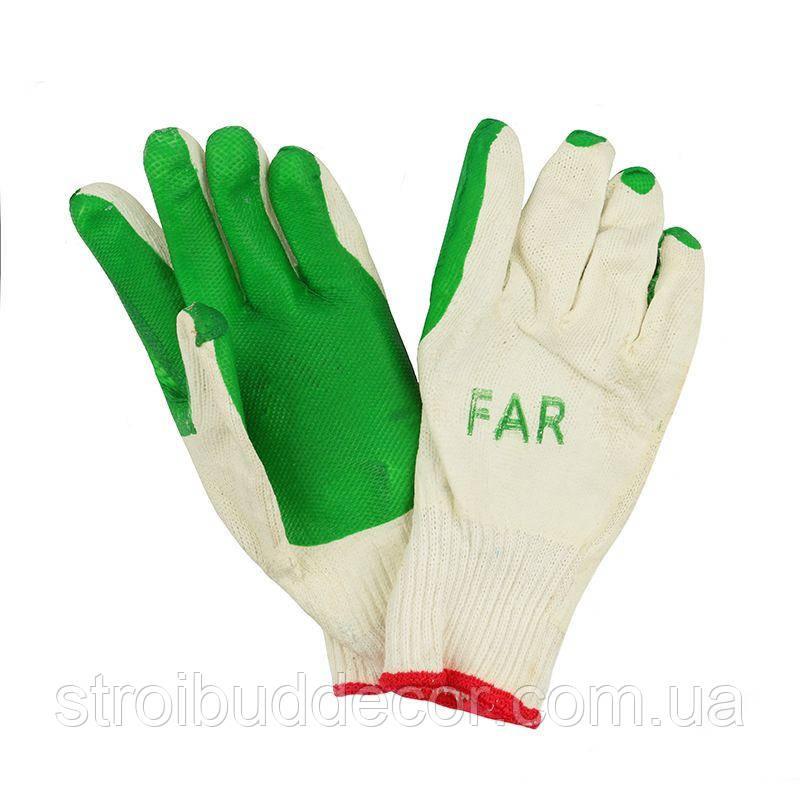 Перчатки стекольщика покрытые рифленым латексом на ладони (зеленые)
