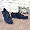 Туфли мужские замшевые на шнуровке, цвет синий, фото 2