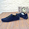 Туфли мужские замшевые на шнуровке, цвет синий, фото 3