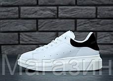 Женские кроссовки Alexander McQueen Leather White/Black Александр Маккуин белые с черным, фото 2