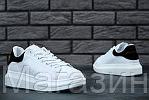 Женские кроссовки Alexander McQueen Leather White/Black Александр Маккуин белые с черным, фото 3