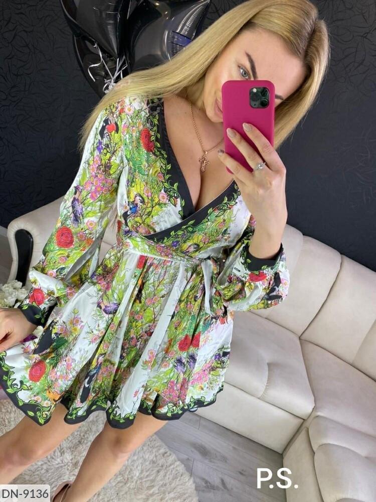 """Женское платье реплика luxury """"dg"""". Нежная приятная к телу шелковая ткань, пышная юбка и объёмный рукав."""