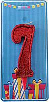 Свеча-цифра 7 Красный блеск
