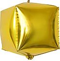 Шарик (30см) 4D Куб Золото матовый, фото 3