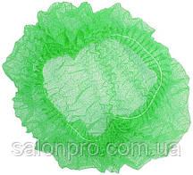 Шапочки одноразовые на двойной резинке Polix, упаковка 100 шт., зеленые
