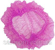 Шапочки одноразовые на двойной резинке Polix, упаковка 100 шт., розовые