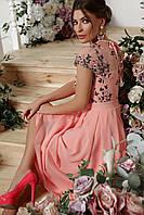 Персиковое женское платье с вышивкой, фото 1