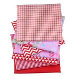 Набор ткани для рукоделия Цветочный красный  - 7 отрезов 40*50 см, фото 2
