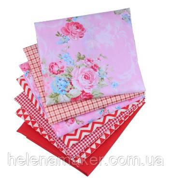 Набор ткани для рукоделия Цветочный красный  - 7 отрезов 40*50 см