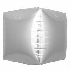 Шарик (30см) 4D Куб серебро матовый