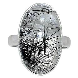 Серебряное кольцо с волосатиком турмалиновым кварцем, 2302КЦВ