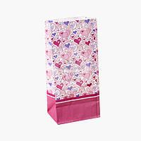 Пакет бумажный упаковочный - Сердечки - 190х90х65 мм