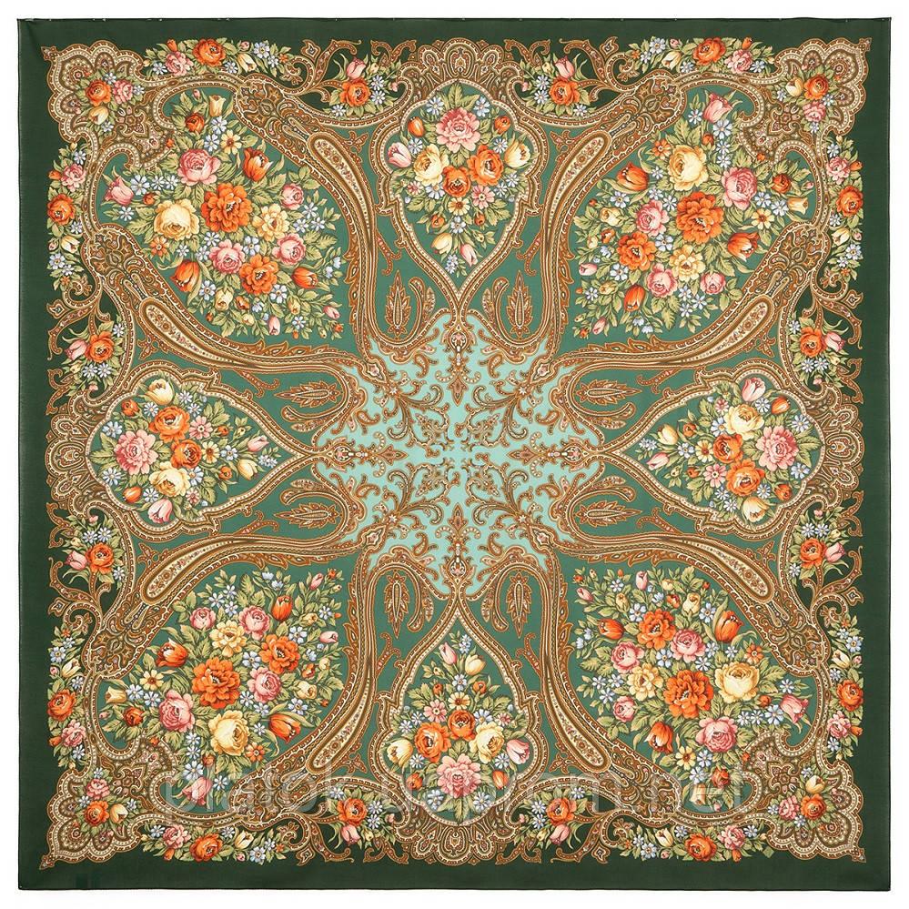 Берегиня 1049-9, павлопосадский платок из вискозы с подрубкой