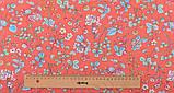 Набір тканини для рукоділля Кораловий з рослинними орнаментами - 8 відрізів 40*50 см, фото 4