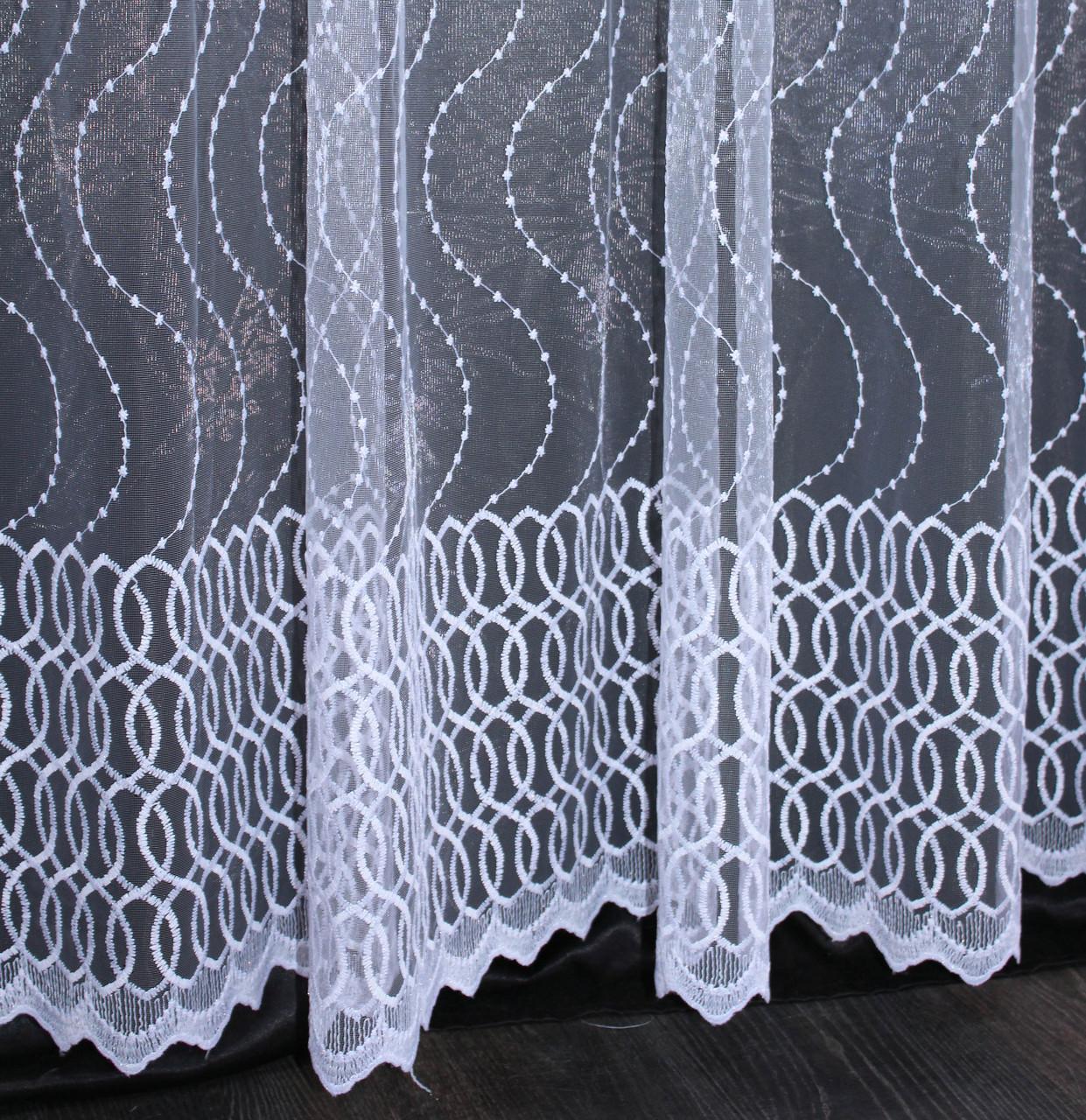 Тюль фатин с вышивкой, цвет белый. Код 476т