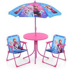Детский столик Frozen с зонтом 93-74-FR со стульчиками розовый