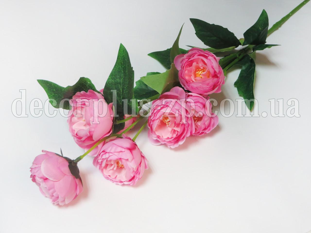 Ветка 70см с пионами 4,5см, розовая