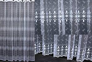 Тюль фатин с вышивкой, цвет белый. Код 468т