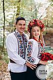 """Чоловіча сорочка з вишивкою хрестиком в етно стилі """"Квіти в золоті"""", фото 3"""