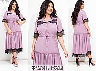 Платье женское миди с декором из кружева (5 цветов) ЕЕ/-8624/1 - Фрезовый, фото 1