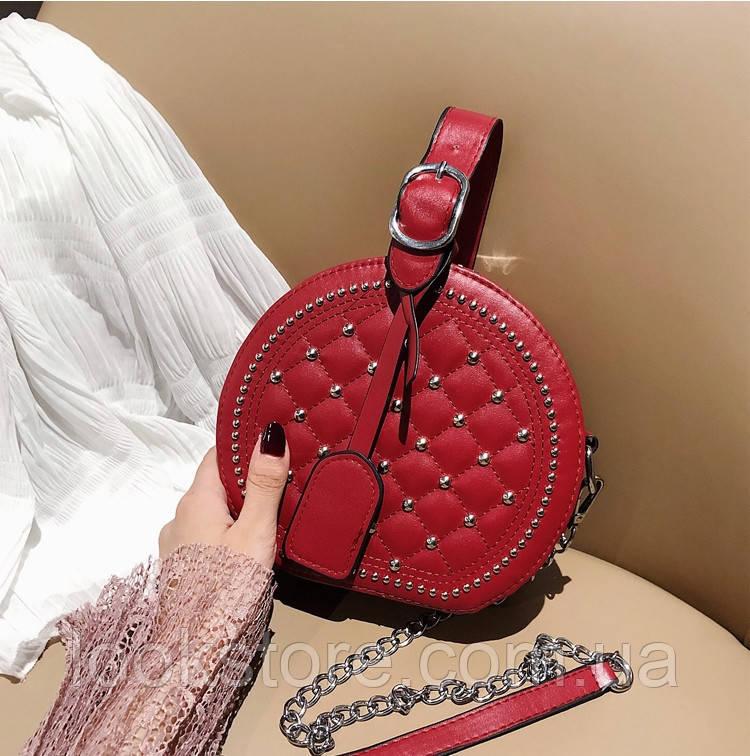 Женская круглая сумка с заклепками Baoling на цепочке красная