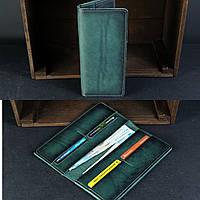 Тонкий кошелек из натуральной кожи итальянский краст зеленый на 4 карты