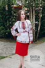 Класична жіноча вишиванка ручної роботи на довгий рукав з поясом «Національні кольори»