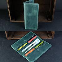 Кожаный кошелек тонкий зеленый на 8 карт