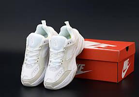 Женские кроссовки Nike M2K Tekno белые с бежевым (Найк М2К кожаные)