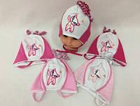 Шапочка для девочки 1-6 месяцев размер 38-42 Польша