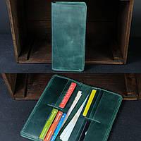 Кожаный кошелек зеленый на 12 карт