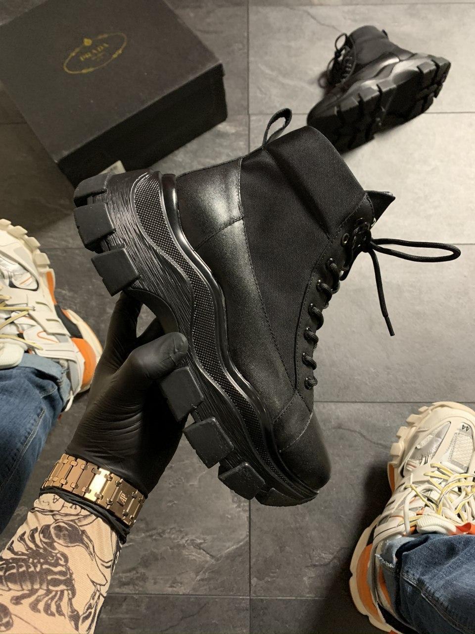 Prada Black Milano Sneakers Block