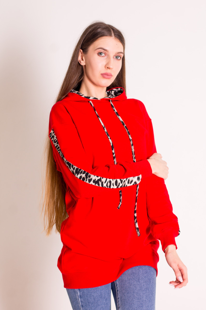 Худи женское удлиненное красное с капюшоном и леопардовыми вставками