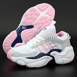 Женские кроссовки Adidas Consortium x Naked Magmur Runner белые с розовым 36-40р.  Живое фото (Реплика ААА+)