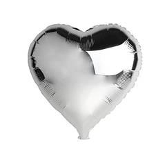 Шарик (45см) Сердечко серебрянное