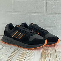 Адидас ЗИКС 500 Кроссы для мужчин. Мужские кроссовки черные с оранжевыми полосами Adidas ZX 500