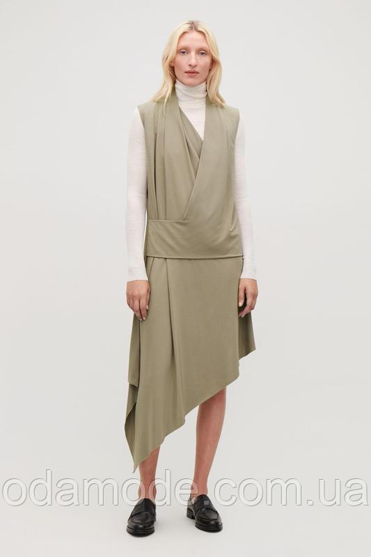 Женское платье ассиметричное  оливковое COS