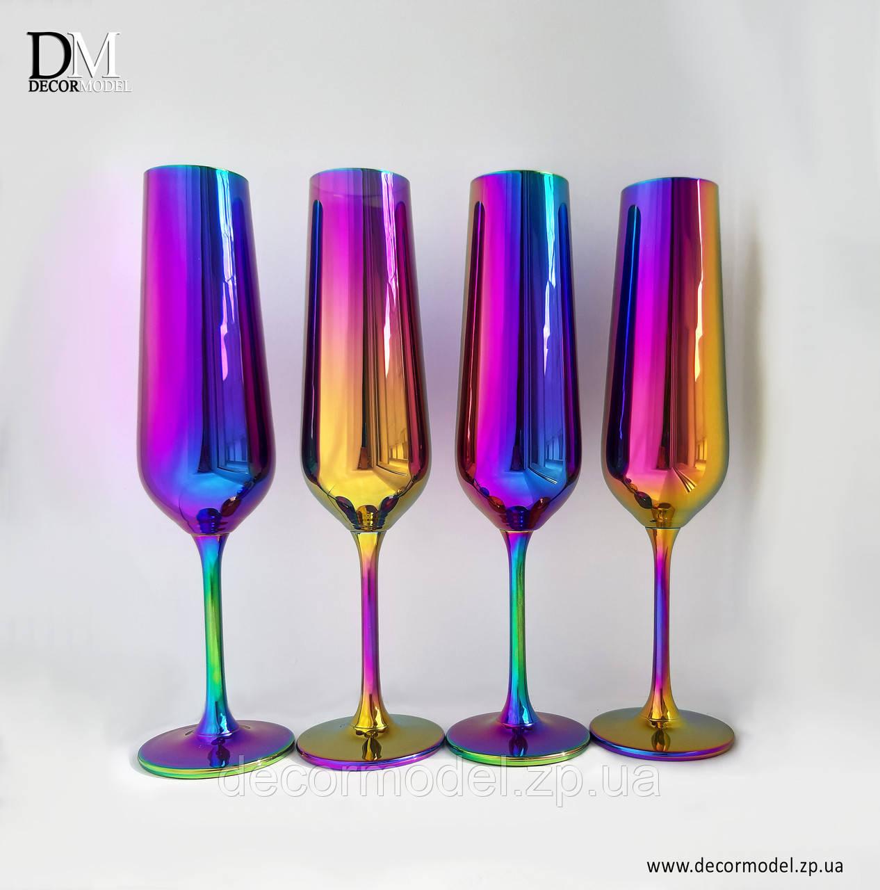 Набор бокалов для шампанского Bohemia Strix 200 мл. (цвет: РАДУГА, сияние)