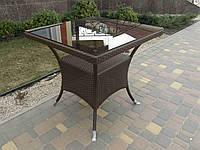 Стол плетенный из ротанга квадратный садовый, фото 1