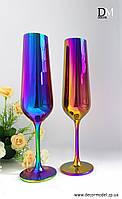 Свадебные бокалы для шампанского Bohemia Strix 200 ml (цвет: РАДУГА, сияяние)
