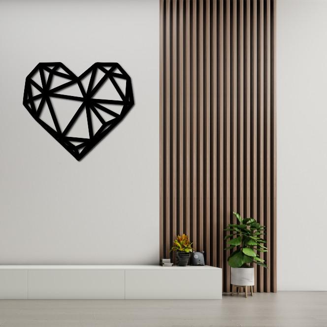 Деревянное геометрическое панно на стену «Сердце»