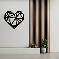 Деревянное геометрическое панно на стену «Сердце», фото 1