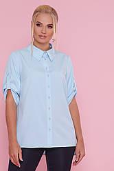 Батальная голубая женская рубашка большого размера
