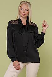 Базовая женская черная блузка прямого кроя с кружевной вставкой и бантом большие размеры