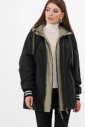 Модная демисезонная женская куртка-ветровка оверсайз с капюшоном черная