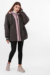 Утепленная женская молодежная куртка оверсайз цвет хаки-пудра