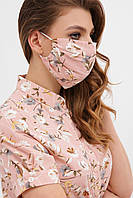 Женская лицевая маска защитная многоразовая с принтом цветы персиковая